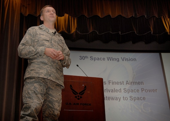 VANDENBERG AIR FORCE BASE, Calif. --  Col. David Buck, the 30th Space Wing commander, speaks at his first commander's call here Monday.  Colonel Buck addressed many issues concerning mission, quality of life and operational readiness.  (U.S. Air Force photo/Airman 1st Class Andrew Satran)