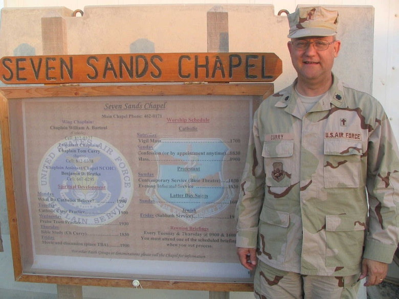 Lt. Col. Tom Curry, a Kentucky Air Guard chaplain, served for nearly 70 days at Al Dhafra Air Base, United Arab Emirates, operating out of the Seven Sands Chapel. (Photo courtesy Lt. Col. Tom Curry)
