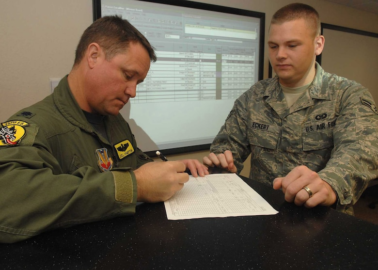 Airman 1st Class Jeffrey Eckert has Lieutenant Colonel Joel Hampton, 357th Fighter Squadron, signs an AFTON IMT 781 form, here on Aug. 8, 2008.  The AAFTON IMT is the form which the pilots fill out their flying information before they step to fly. Lt.Col. Hampton is the director of operations at the squadron. (US Air Force Photo By: Senior Airman Jacqueline Romero)