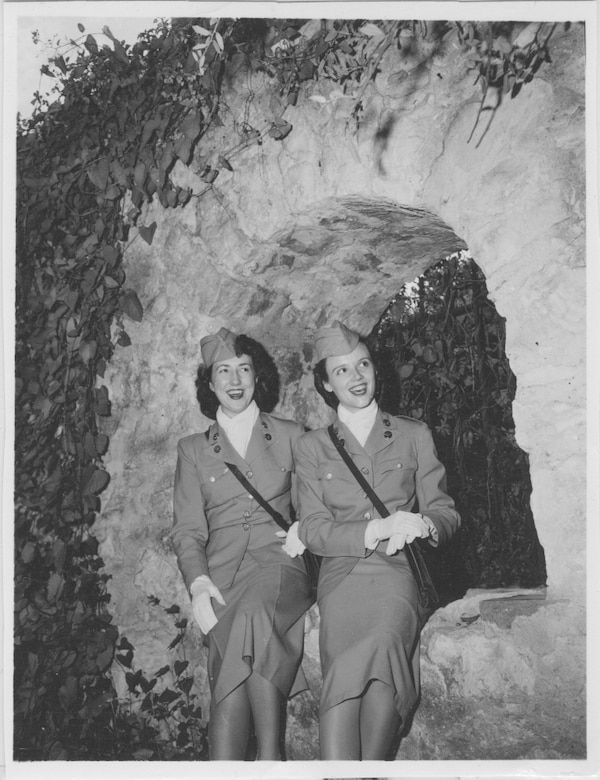 SAN ANTONIO --  Basic Trainee Patricia Rahe, left, walks with another basic trainee through the city during a break from Air Force basic training. Trainee Rahe, now Mrs. Patricia Ono, was one of the first women to join the Women's Air Force in 1948. (Courtesy photo)