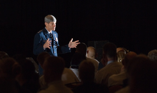 Gen. Norton Schwartz, Air Force chief of staff, was the keynote speaker Aug. 25 at the Air Force Sergeants Association's annual Professional Airmen's Conference and International Convention in San Antonio. General Schwartz discussed the importance of noncommissioned officer leadership and goals and objectives to remedy problems in today's Air Force. (U.S. Air Force photo/Lance Cheung)