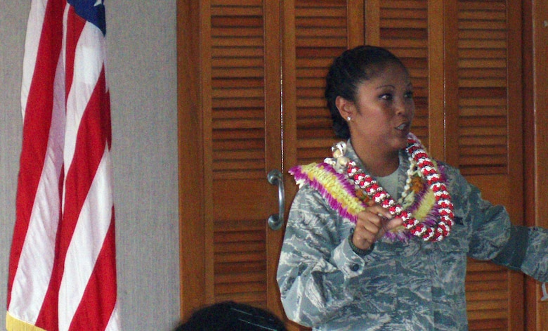 Federal Women's Program sponsored a brown bag luncheon commemorating Women's Equality Day. The guest speaker was Lieutenant Colonel Shirlene Ostrov, Commander, 735th Air Mobility Squadron, Hickam AFB.   (U.S Air Force Photo/Debra Straight).