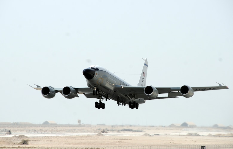 An RC-135 Rivet Joint from the 45th Expeditionary Reconnaissance Squadron takes off for a mission here Aug. 26, 2008. The 45 ERS supports theater and national-level consumers with near real-time on-scene intelligence collection, analysis and dissemination. (U.S. Air Force by Tech. Sgt. Michael Boquette)