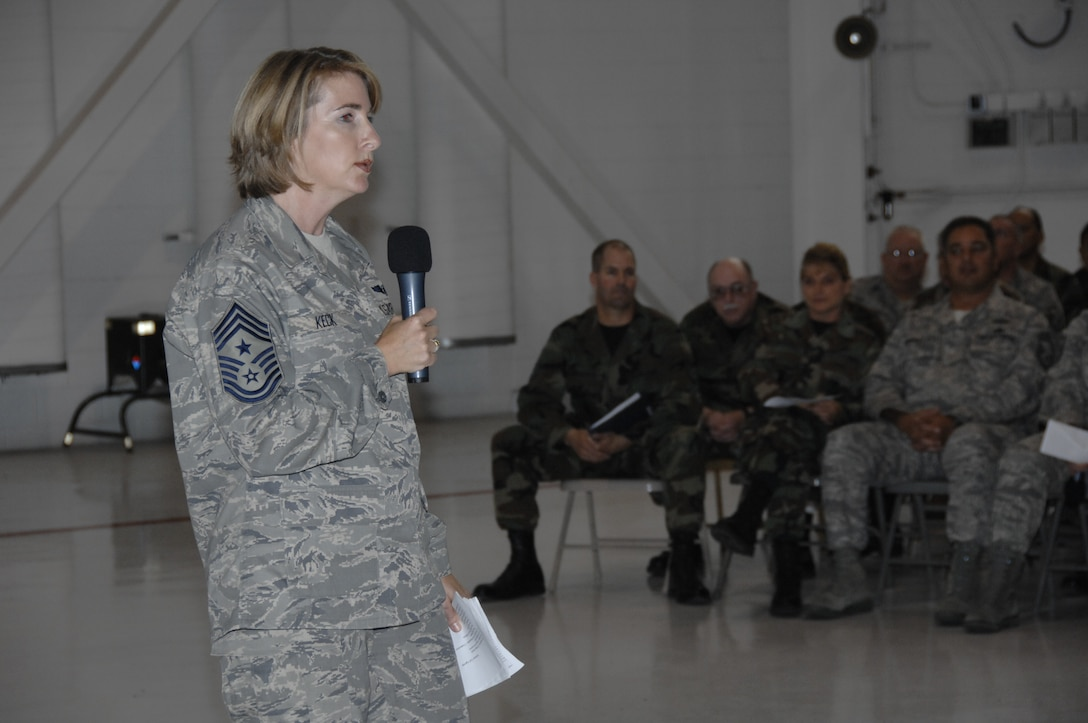 Command Chief Master Sgt. Kristina P. Keck, 129th Rescue Wing, Moffett Federal Airfield, Calif., briefs personnel during a wing-wide Enlisted Call Nov. 2, 2008.  (U.S. Air Force photo by Master Sgt. Dan Kacir)(RELEASED)