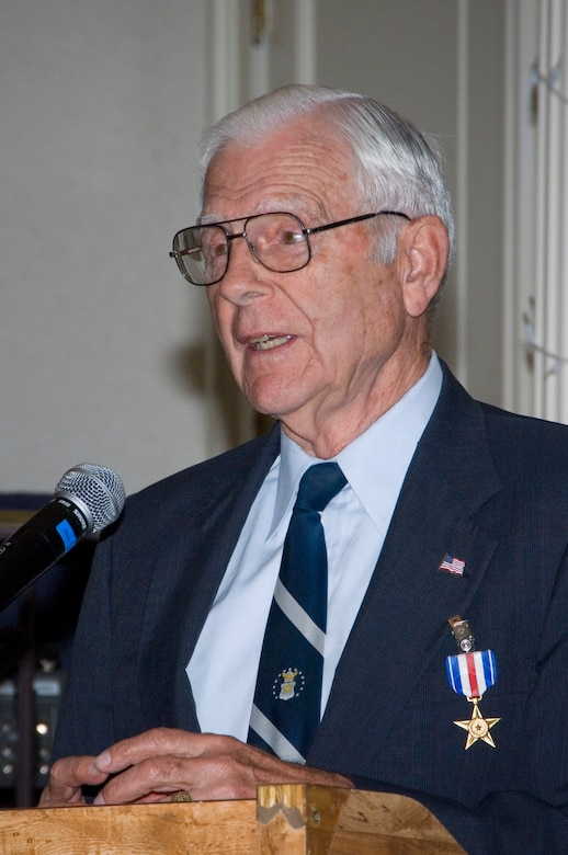 Retired Air Force Lt. Gen. Charles Cleveland speaks at the Maxwell Officers Club after receiving a Silver Star for his actions 56 years ago. (Air Force photo by Melanie Rodgers)