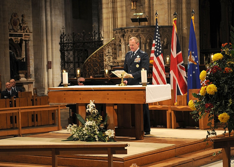 The 100th Air Refueling Wing Vice Commander, Col. Scott A. Brumbaugh gives the opening greeting during the Thanksgiving service Nov. 26, 2008, in Ely, England. The service gives U.S. servicemembers in England an opportunity to enjoy a holiday service at one of the cathedrals in the local area. (U.S. Air Force photo by Staff Sgt. Jerry Fleshman)