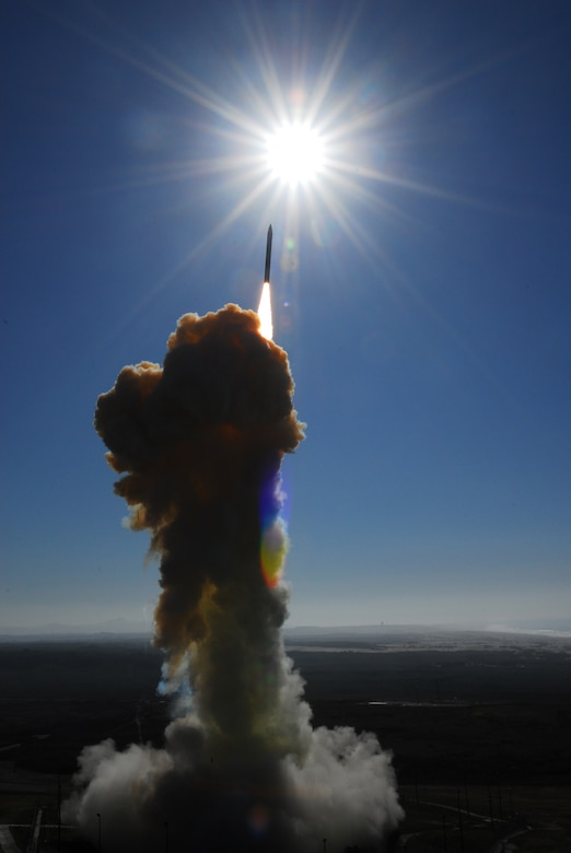 VANDENBERG AIR FORCE BASE, Calif.-- A Missile Defense Agency (MDA) interceptor missile is successfully launched on Dec. 5, at 12:21 p.m. from North Vandenberg. The launch was part of an exercise and flight test involving the intercept of an intercontinental ballistic missile by a ground-based interceptor missile designed to protect the United States against a limited long-range ballistic missile attack. (U.S Air Force Photo/Joe Davila)