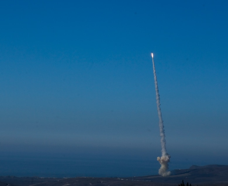 VANDENBERG AIR FORCE BASE, Calif.-- A Missile Defense Agency interceptor missile is successfully launched on Dec. 5, at 12:21 p.m. from North Vandenberg. The launch was part of an exercise and flight test involving the intercept of an intercontinental ballistic missile by a ground-based interceptor missile designed to protect the United States against a limited long-range ballistic missile attack. (U.S Air Force Photo/Staff Sergeant Vanessa Valentine)