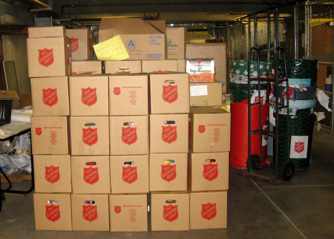 Boxes of food delivered to the Salvation Army are stacked in the holding area prior to delivery to needy families in Redondo Beach. (Courtesy photo)