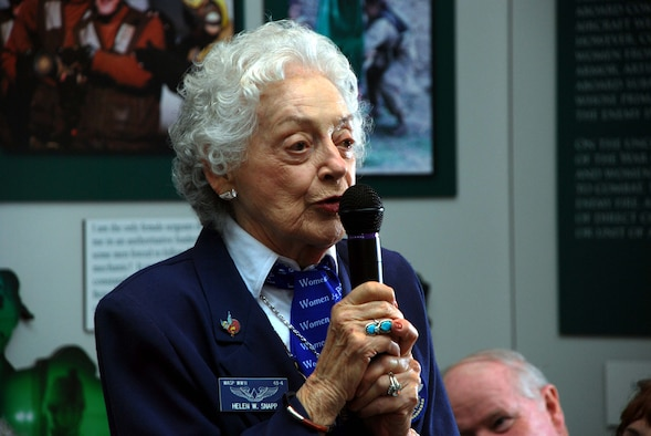 """Helen Wyatt Snapp tells the more than 100 visitors gathered at the Women in Military Service for America memorial for the unveiling of the Woman Air Force Service Pilot exhibit that she, """"Loved every minute,"""" of being a WASP.  Snapp graduated from the fourth WASP class of 1943, and was subsequently assigned to the New Castle Army Air Base, De and Camp Davis Army Air Field, NC.  The WASP exhibit at the WIMSA memorial is the first of its kind in the country and will be on display through Nov. 2009."""