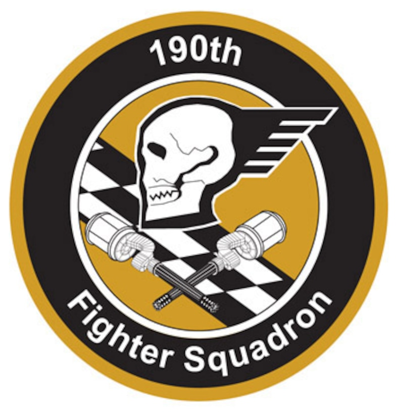 The emblem represents the 190th Fighter Squadron of the 124th Wing, Idaho Air National Guard.