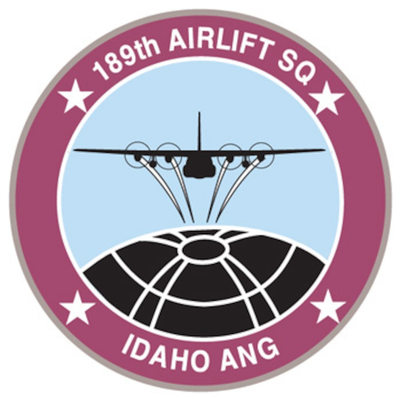 The emblem represents the 189th Airlift Squadron of the 124th Wing, Idaho Air National Guard.
