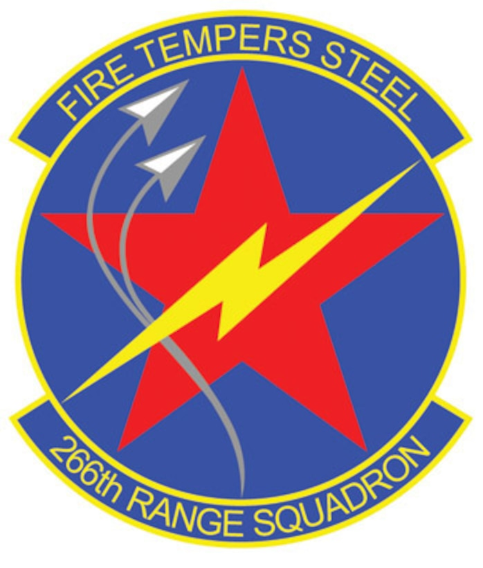 The emblem represents the 266th Range Squadron of the 124th Wing, Idaho Air National Guard.