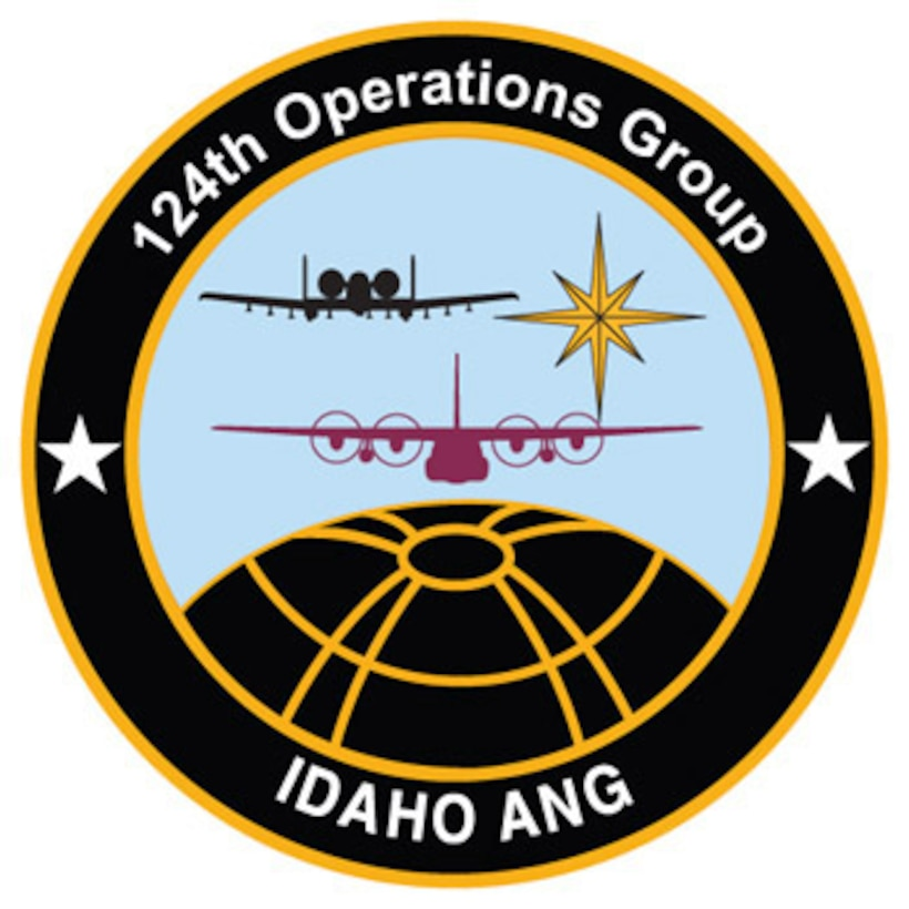 The emblem represents the 124th Operations Group of the 124th Wing, Idaho Air National Guard.