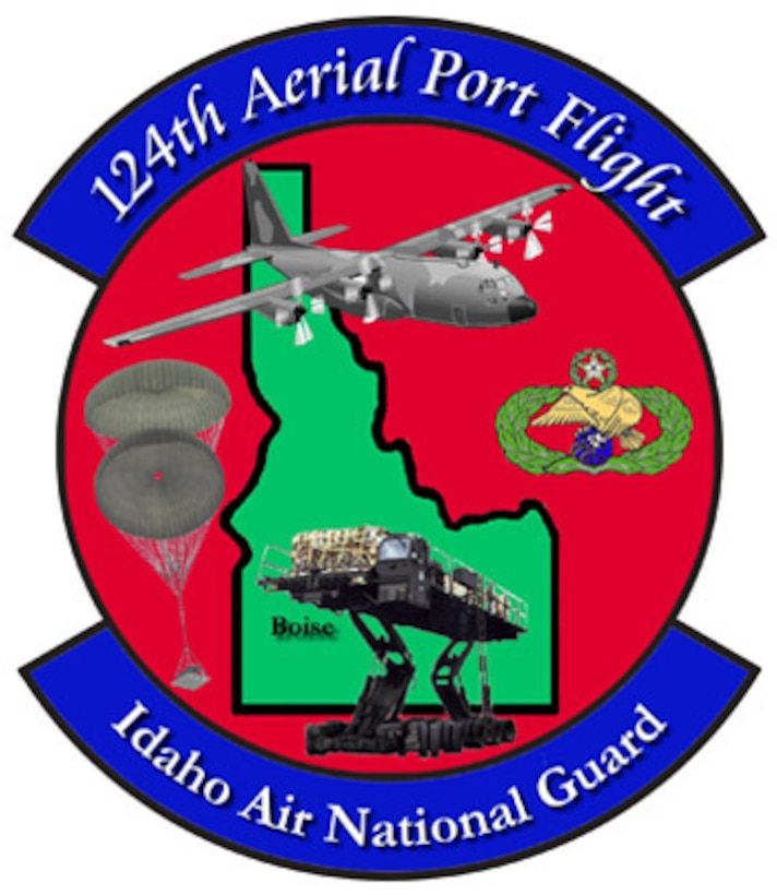 The emblem represents the 124th Aerial Port Flight of the 124th Wing, Idaho Air National Guard.