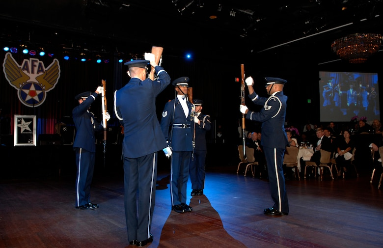 Members of the U.S. Air Force Honor Guard Drill Team perform Nov. 21 at the Beverly Hills Hilton for the Air Force Association Ball in Beverley Hills, Cailf. The Drill Team performed at the AFA ball as part of a 23-day temporary duty that started at McChord Air Force Base, Wash. and ended during Los Angeles's Air Force Week. (U.S. Air Force photo by Senior Airmen Tim Chacon)