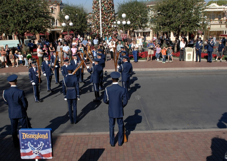 The United States Air Force Honor Guard Drill Team performs Nov. 17 at Disneyland in Anaheim, Cailf. The Drill Team performed at Disneyland as part of a 23-day temporary duty that started at McChord Air Force Base, Wash. and ended during Los Angeles's Air Force Week. (U.S. Air Force photo by Senior Airmen Tim Chacon)