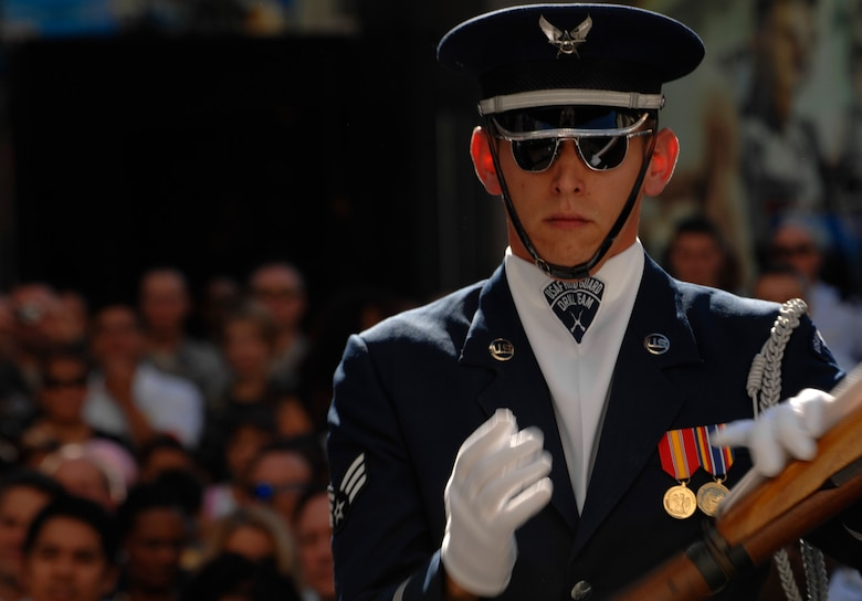 Senior Airman James Floyd, United States Air Force Honor Guard Drill Team, performs Nov. 14 at the Hollywood and Highland Plaza in Hollywood, Cailf. The Drill Team performed at the Plaza as part of a 23-day temporary duty that started at McChord Air Force Base , Wash. and ended in Los Angeles, Calif., during Los Angeles's Air Force Week. (U.S. Air Force photo by Senior Airmen Tim Chacon)