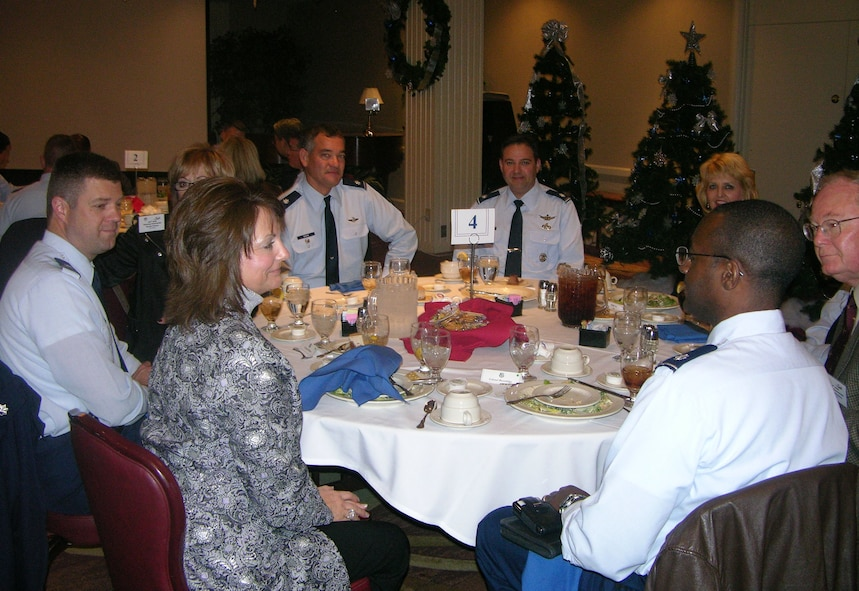 Commanders from the 552nd Air Control Wing enjoy lunch with their assigned Honorary Commanders. Photo courtesy of Tech. Sgt Rachel Moore.