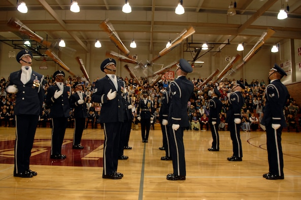 The United States Air Force Honor Guard Drill Team performs Nov. 4 at Bethel High School in Spanaway, Wash. The Drill Team performed at Bethel as part of a 23-day temporary duty that started at McChord Air Force Base , Wash. and ended during Los Angeles's Air Force Week.  (U.S. Air Force photo by Senior Airman Tim Chacon)