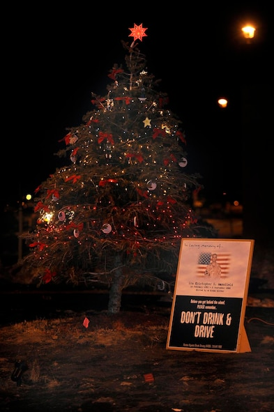 BUCKLEY AIR FORCE BASE, Colo. -- The Mansfield tree was lit Dec. 5 in front of the Health and Wellness Center here in memory of the 460th Space Communications Squadron's late Senior Airman Kristopher Mansfield, whose motorcycle was struck by a drunk driver Sept. 4, 2004. Airman Mansfield passed away two days later. The 460th SCS lights the tree in honor of Airman Mansfield every year. (U.S. Air Force photo by Senior Airman Steve Czyz)