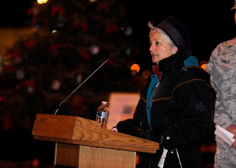 BUCKLEY AIR FORCE BASE, Colo. -- Ms. Julie Legg, mother of the 460th Space Communications Squadron's late Senior Airman Kristopher Mansfield, warns Team Buckley members of the dangers of drinking and driving during the tree lighting ceremony outside the Health and Wellness Center here, Dec. 5. Ms. Legg lost her son to a drunk driver Sept. 6, 2004. The 460th SCS lights the tree in honor of Airman Mansfield every year. (U.S. Air Force photo by Senior Airman Steve Czyz)