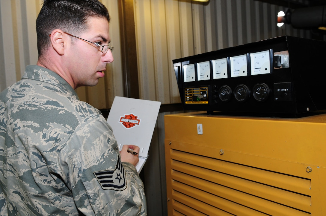 Staff Sgt. Vincent Rizzo, 100th Civil Engineer Squadron Power Production, checks the dials on a generator and records the information on a checklist during the monthly check of a generator.  Power production technicians are also responsible for maintaining 20 mobile generators. The generators are run for one hour each month under load bank (artificial load) and a yearly inspection is performed, when the oil and filters are changed and an electrical inspection is done. Technicians from barrier maintenance and power production work closely together; the only difference is that barrier maintenance personnel work on aircraft arresting systems and the power production staff works on generators. (U.S. Air Force photo by Karen Abeyasekere)
