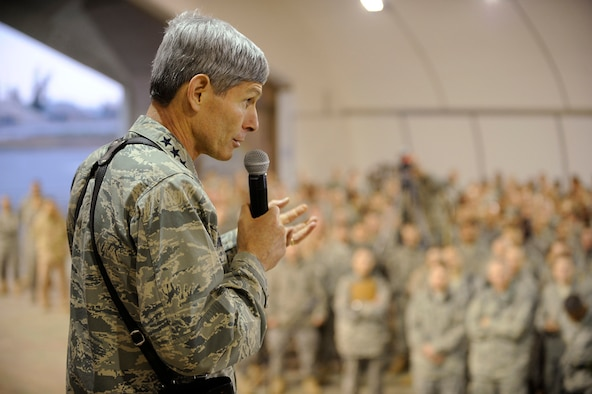 """Air Force Chief of Staff Gen. Norton Schwartz speaks at an Airman's Call at Joint Base Balad, Iraq, during a recent tour of Southwest Asia installations.  General Schwartz announced Dec. 17 that an Airman previously categorized as filling an """"in lieu of"""" or ILO tasking now would be referred to as filling a """"joint expeditionary tasking,"""" or JET.  He stated that the term JET reinforces the Air Force's commitment to the joint fight as an equal member of the joint team.  (U.S. Air Force photo/Airman 1st Class Jason Epley)"""