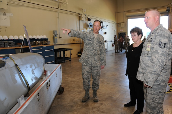 ANDERSEN AIR FORCE BASE, Guam - Col. Brett Klassen, 36th Maintenance Group commander explains the capabilities of the Conventional Air Launch Cruise Missile to Mrs. Natalie Crawford, Senior Fellow of the Research and Development Corporation and Senior Mentor for the U.S. Air Force Scientific Advisory Board during her visit here Dec.17.  Andersen has had a continuous bomber presence with bombers capable of delivering precision missiles such as the CALCM since 2004. (U.S. Air Force photo by Senior Airman Nichelle Griffiths)