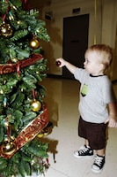 Maxwell Alwin, 18 months, grabs an ornament from a Christmas tree at the U.S. Marine Corps Forces, Pacific Headquarters and Service Battalion holiday party Dec. 18.