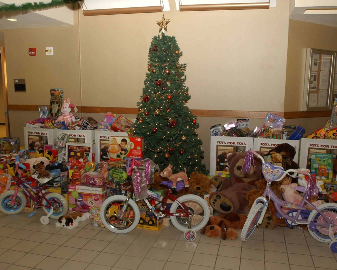 12/15/2008 - More than $4,000 worth of toys were collected by basic military trainees from the 343rd Training Squadron for Toys for Tots. Since its inception, Toys for Tots has given more than 370 million toys to needy children throughout the United States. (USAF photo by Alan Boedeker)