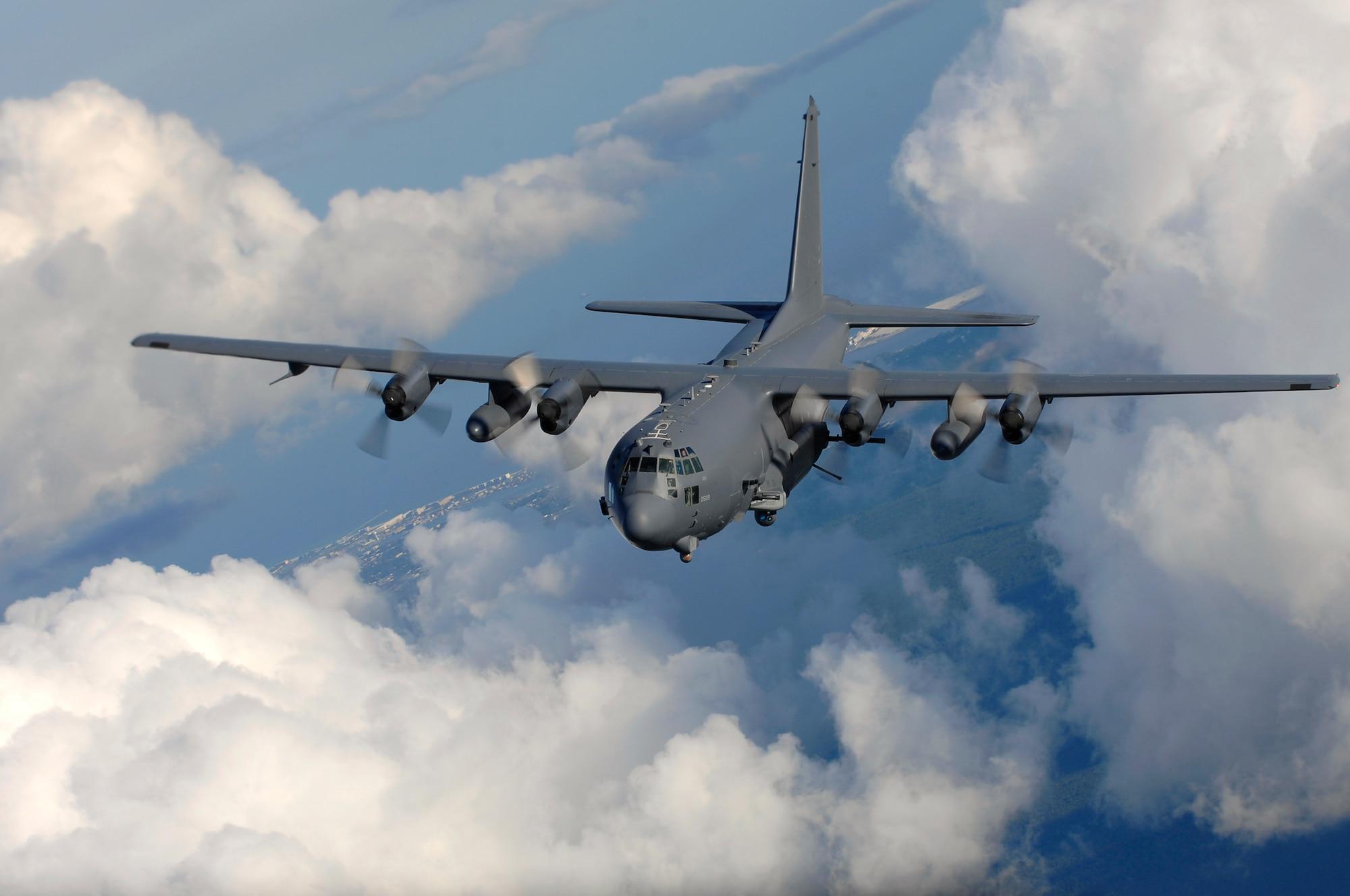 HURLBURT FIELD, Fla. -- An AC-130U gunship from the 4th Special Operations Squadron, flies near Hurlburt Field, Fla., Aug. 20. The AC-130 gunship's primary missions are close air support, air interdiction and force protection. (U.S. Air Force photo/ Senior Airman Julianne Showalter)