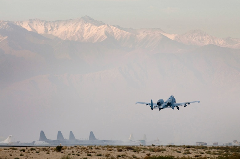 An A-10 Thunderbolt II takes off from Bagram Air Field, Afghanistan, Dec. 2. Even after more than 30 years of service, the A-10 remains the king of close-air support, protecting coalition forces in sticky situations. (U.S. Air Force photo by Staff Sgt. Samuel Morse)(Released)