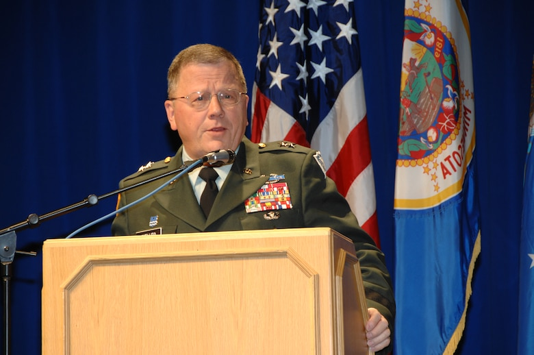 Maj. Gen. Larry Shellito, Minnesota Adjutant General, delivers his holiday message to Airmen, families and friends of the 133rd Airlift Wing on Dec. 13, 2008 during the Wing Recognition Ceremony at the St. Paul Air National Guard base. (USAF photo by Tech. Sgt. John Wiggins)