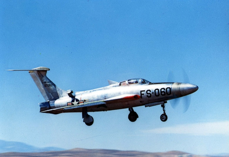 Republic XF-84H (S/N 51-17060), turboprop modification of RF-84F airframe. (U.S. Air Force photo)