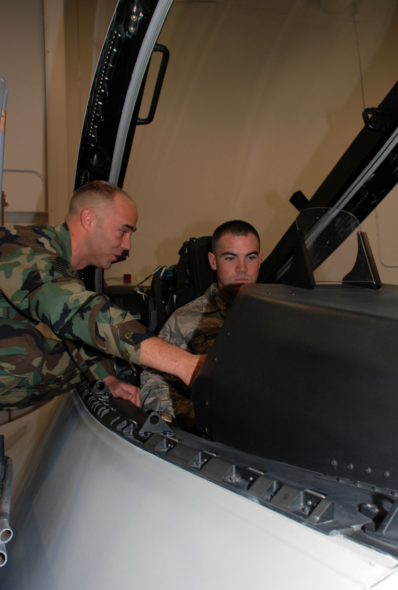 Staff Sgt. Chris Dippold shows Airman 1st Class Michael Borden the inside of a Raptor cockpit trainer Jan. 29 at Sheppard Air Force Base, Texas. Airman Borden is one of the first Airmen to attend the F-22 Raptor Crew Chief training course in the new Raptor Maintenace Training Facility. Sergeant Dippold is a course instructor with the 362nd Training Squadron. (U.S. Air Force photo/Airman 1st Class Jacob Corbin)