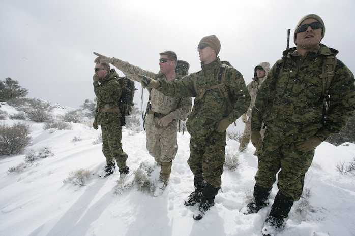 U.S. Marine Cpl. Jacob Kelly (desert camouflage utilities), a mountain warfare instructor and a Mobile, Ala., native, helps a team leader with Embedded Trainer Team 2-6 guide his team of Marines and sailors through a snow-covered mountain Feb. 4, 2008, in Hawthorne, Nev.  ETT 2-6 and ETT 6-3, both based out of Okinawa, Japan, are going through cold weather training in preparation for their upcoming deployment to Afghanistan.  They are also training to take role as military advisors to units with the Afghan National Army during their upcoming deployment.  (U.S. Marine Corps photo by Cpl. Michael S. Cifuentes)