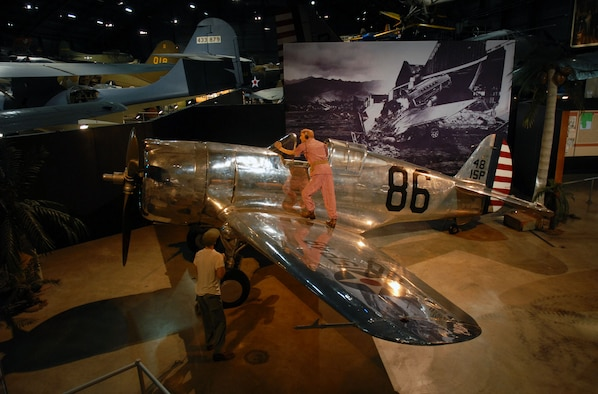 DAYTON, Ohio -- Curtiss P-36A Hawk in the World War II Gallery at the National Museum of the United States Air Force. (U.S. Air Force photo)