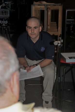 """Capt. Brian P. Iglesias conducts an iterview of a Marine who served at the Chosin Reservior.  Capt Iglesias, a reservist with 6th Motor Transport Battalion, 4th Marine Logistics Group, Marine Forces Reserve, is the director and co-producer of """"Chosin,"""" a documentary of the epic battle."""