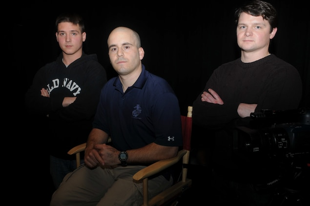 "Marine crew members of ""Chosin,"" a documentary about the epic battle of the Chosin Reservoir in the words of those whose participated.  From left, Sgt. David Childers, Capt. Brian Iglesias, director and co-producer and former Capt. Anton Sattler, co-producer."