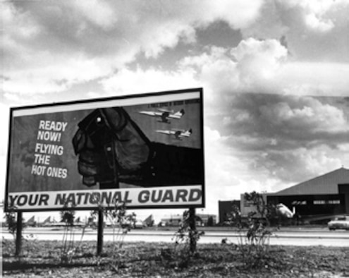 A recruiting billboard sits in front of the Texas Air National Guard hanger encourages folks in and around Kelly Air Force Base to the TANG. (Texas Military Forces Photo