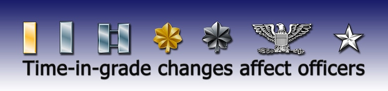 Air Force Reserve Command recently changed the time-in-grade requirements for reserve officers to be promoted to the next higher rank.  The changes primarily affect captains, majors and lieutenant colonels.  (U.S. Air Force graphic/Maj. David Kurle)