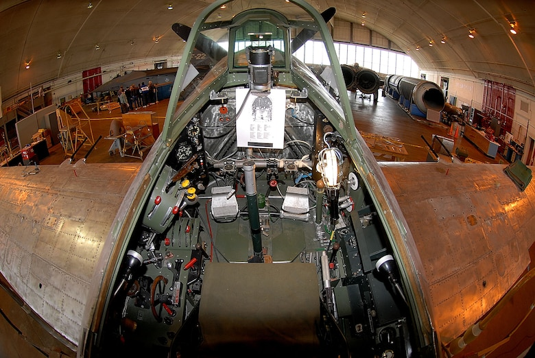 DAYTON, Ohio (02/2008) -- A view from the ccockpit of the Kawanishi N1K2-Ja (or Japanese George) in the National Museum of the U.S. Air Force's restoration hangar. (U.S. Air Force photo)