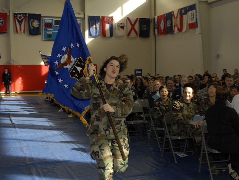Capt. Shana Figueroa leads the Launch and Range Systems Wing's cheer. The wing took the Team Sprit crown at the SMC Quarterly Awards, Jan. 31. (Photo by Joe Juarez)