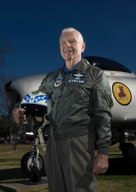 "Retired Lt. Gen. Charles G. Cleveland stands before a remake ""Chris Craft"" F-86A Sabre now a part of the air park at Maxwell Air Force Base, Ala. The ""Chris Craft"" named after General Cleveland's son, was the aircraft he used to shoot down five MiG-15s during the Korean War. General Cleveland was deployed to South Korea in March 1952, where he flew F-86s as a flight commander with the 4th Fighter Interceptor Wing at Kimpo Air Base. (U.S. Air Force photo/Staff Sgt. Bennie J. Davis III)"