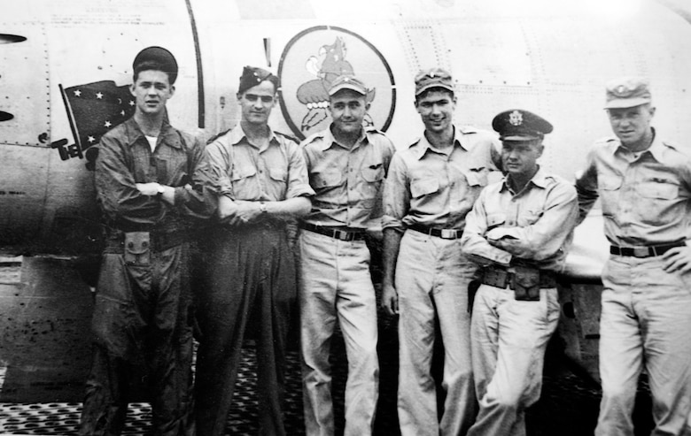 Retired Lt. Gen. Cleveland (third from right) was deployed to South Korea in March 1952, where he flew F-86s as a flight commander with the 4th Fighter Interceptor Wing at Kimpo Air Base. Fifty-five years after the Korean War, the Air Force has recognized General Cleveland as a fighter ace for his accomplishments of five MiG-15s kills and one probable. (U.S. Air Force photo/Staff Sgt. Bennie J. Davis III)