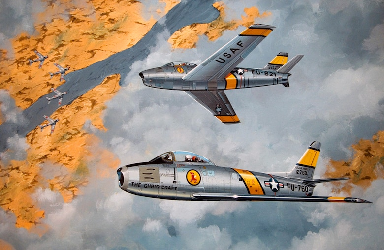 "A painting of the ""Chris Craft"" F-86A flown by retired Lt. Gen. Charles G. Cleveland hangs in his office. The ""Chris Craft"" named after General Cleveland's son, was the aircraft he used to shoot down five MiG-15s during the Korean War. General Cleveland was deployed to South Korea in March 1952, where he flew F-86s as a flight commander with the 4th Fighter Interceptor Wing at Kimpo Air Base. (U.S. Air Force photo/Staff Sgt. Bennie J. Davis III)"