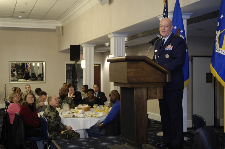 "Chaplain, Brig. Gen. Cecil R. Richardson, Air Force Deputy Chief of Chaplains, gives his message entitled ""In God We Trust"" at the National Prayer Breakfast Feb. 12 at the Bolling Club. (U.S. Air Force photo by Senior Airman Dan DeCook)"