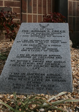 The Airman's Creed granite slab, donated by Jim and Pauline Moody, owners of Stipe Monuments, Inc., of Mena, Ark., is located near the rear entrance to Building 118. Their son-in-law is Master Sgt. Michael Parrett, a flight engineer in the 154th Training Squadron. Sergeant Parrett came up with the idea and the Moodys took it from there.