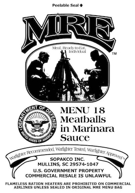 Pictured is one of the three new MRE package designs to be used during MRE production in 2008.